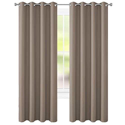 FLOWEROOM Blackout Curtains Thermal Insulated Draperies with Grommet for Bedroom, Taupe, 52 x 84 inch, 2 Panels