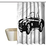 Denruny Shower Curtains Disney Cars,Classic Car Silhouette,W72 x L84,Shower Curtain for Girls
