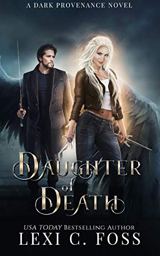 book cover blonde angel with black wings and two daggers in jeans and a brown coat with dark haired man with black wings fallen angels fantasy