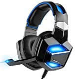No Messy Adapter Required, Convenient USB PNP Digital Gaming Headset with Stand, G-Cord 7.1 Surround Sound Over-Ear LED Headphones with Noise Cancelling Microphone for PS4 PC Laptop, Soft Earmuffs.