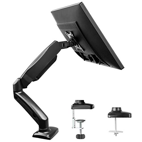 Single Monitor Stand - Articulating Gas Spring Monitor Arm, Adjustable VESA Mount Desk Stand with Clamp and Grommet Base - Fits 13 to 27 Inch LCD Computer Monitors up to 14.3lbs, VESA 75x75, 100x100