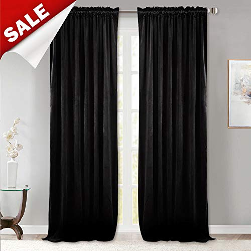 StangH Blackout Velvet Curtain Shades - Insulated Velvet Drapes Energy Smart Repel Summer Hot & Winter Cold Privacy Panels for Home Theater, Black, 52' W x 96' L, 2 Pcs