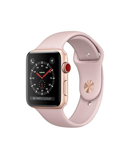 Apple Watch Series 3 42mm Smartwatch (GPS + Cellular, Gold Aluminum Case, Pink Sand Sport Band) (Renewed)