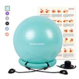 RGGD&RGGL Yoga Ball Chair, Exercise Balance Ball Chair 65cm with Inflatable Stability Ring, 2 Resistant Bands and Pump for Core Strength and Endurance (Mint Green)