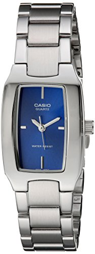 410DlRfKmzL Rectangular watch featuring logoed blue dial with four stick indices 22 mm stainless steel case with mineral dial window Quartz movement with analog display