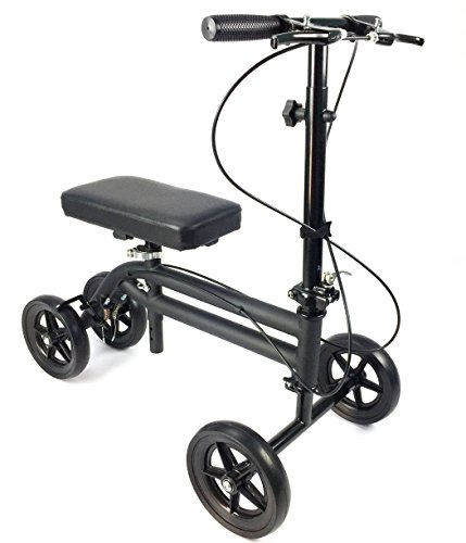KneeRover Economy Knee Scooter Steerable Knee Walker Medical Leg Scooter Crutch Alternative with DUAL BRAKING SYSTEM in Matte Black