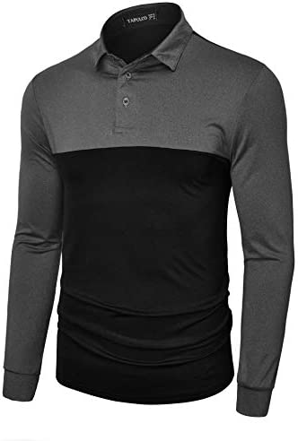 TAPULCO Men's Dry Fit Golf Polos 2 Tone Moisture Wicking Casual Polo Shirt