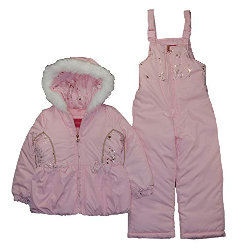London Fog Girls' Little Snowsuit with Snowbib and Puffer Jacket, Only Roses Pink Foil, 5/6