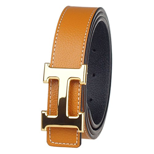 G-FOR Women H Reversible Leather Belt With Removable Buckle 34inch Brown