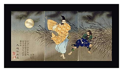 "Playing The Flute by Moonlight by Tsukioka Yoshitoshi - 23"" x 43"" Black Framed Giclee Canvas Art Print - Ready to Hang"