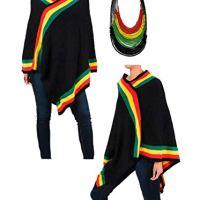 BUNFIREs Women Lady Rasta Reagea Set Earring Necklace Set Fashion Jewelry w/Empress Poncho Knit V-Neck Sweater1sz Fit