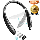 Bluetooth Headset Stereo - Upgraded Bluetooth 4.1 Wireless Headphone with Foldable Neckband Design Retractable Earbuds Compatible for All Cellphones