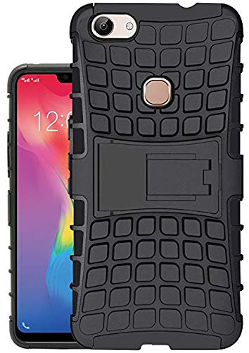 Vivo Y83 Defender Hard Back Armor Shock Proof Case Cover with Back Stand Feature Black 1