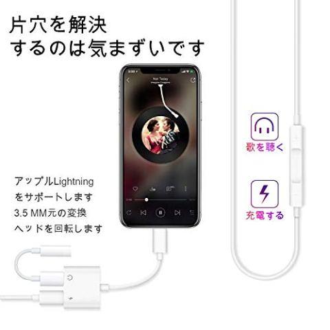 iPhone イヤホン 変換 ケーブル,ライトニング充電 lightning イヤホンジャック付き iPhone イヤホン 変換 アダプタ 通話可能 音楽調節 iPhoneXs/Xs max/Xr / 8/8 plus / 7/7 plus(IOS11、12対応)