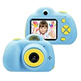 omzer Kids Toys Camera for 3-6 Year Old Girls Boys, Compact Cameras for Children, Best Gift for 5-10 Year Old Boy Girl 8MP HD Video Camera Creative Gifts,Blue(16GB Memory Card Included)