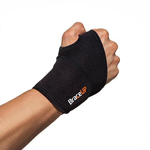 BraceUP Adjustable Wrist Support, One Size Adjustable (Black), 1 PC
