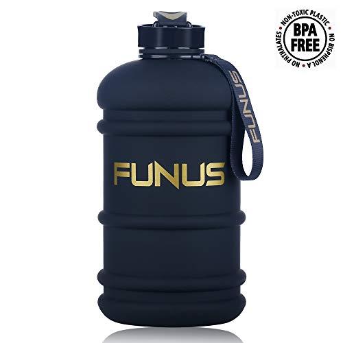 FUNUS Big Water Bottle 1.3L-2.2L Large Water Bottle BPA Free Leak Proof Reusable Odorless Big Capacity Water Jug for Men Women Fitness Gym Outdoor Climbing Gym Water Bottle (2.2L Matte Jet Black)