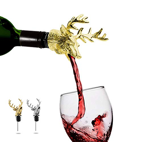 [Pack of 2] Gold & Silver Deer Head Wine Pourer & Aerator with Silicone Rubber Fitting for Wine and Liquor Bottles