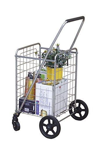 Wellmax WM99024S Grocery Utility Shopping Cart   Easily Collapsible and Portable to Save Space + Heavy Duty, Light Weight Trolley with Rolling Swivel Wheels