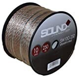 SoundBox Connected 10 Gauge 250' Speaker Wire 10 Ga Clear Home/ Car 250 Ft. Speaker Cable Spool