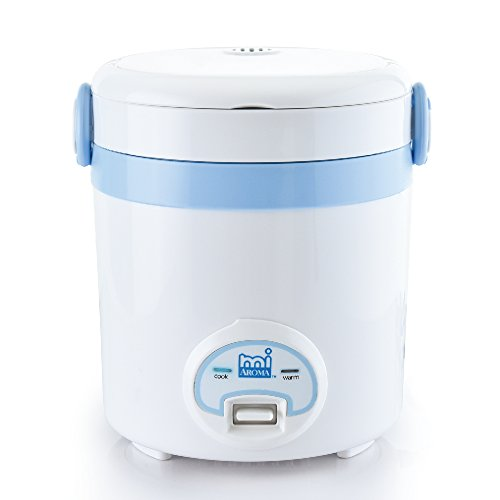 Aroma Housewares MRC-903BL MI 3 (Cooked) (1.5-Cup UNCOOKED) Cool Touch Mini Rice Cooker, 3 Cups Cups, Blue/White