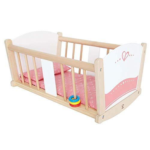 Hape Kids Wooden Pretend Play Baby Doll Stroller & Rock-A-Bye Cradle Crib Toy