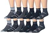 James Fiallo Men's 12 Pairs Athletic Sports Quarter Socks, (sock size 10-13) Fits shoe size 6-12, 2794-12
