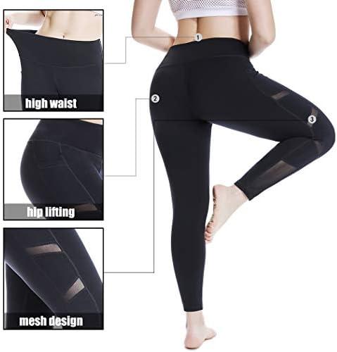 YOHOYOHA Women's Yoga Pants Plus Size Breathable Mesh Splice Tummy Control Best Long Workout Fitness Pants for 4 Way Stretch 3