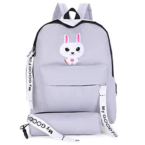 410krII24TL - Tinytot Polyester 18 L Grey College School Travel Backpack with Pencil Pouch for Girls