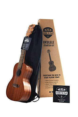 Official Kala Learn to Play Ukulele Concert Starter Kit, Satin Mahogany - Includes online lessons, tuner app, and booklet (KALA-LTP-C)