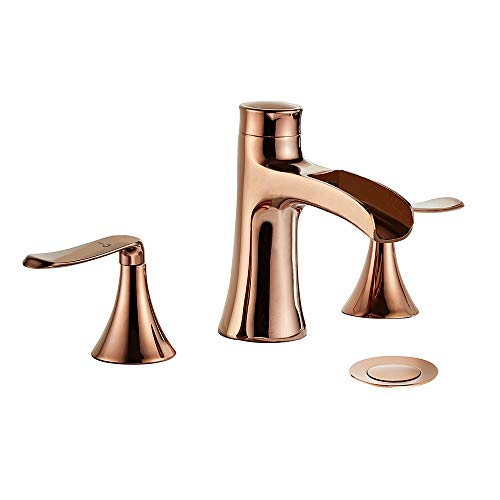 Wovier Rose Gold 8-16 Inch Widespread Waterfall Bathroom Sink Faucet,Two Handle Three Hole Lavatory Faucet,Basin Mixer Tap With Pop Up Drain