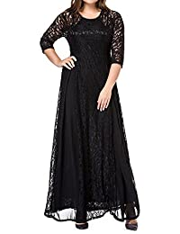 Women's Plus Size 3/4 Sleeve Lace Maxi Bridesmaid Dress Gown