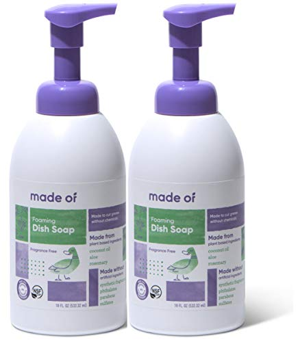 Foaming Organic Baby Dish Soap by MADE OF - Castile Dish Soap - for Baby Bottles - Dermatologist and Pediatrician Tested - NSF Organic and Vegan - Made in USA - 18oz (Fragrance Free, 2-Pack)