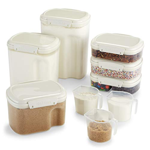 Sistema Bake IT Collection Food Storage Containers, Clear/White, 9-Piece Set