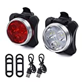 LEADTEAM Bicycle Light Set of USB Rechargeable, Universal Super Bright Front Headlight and Free Rear LED Bicycle,650mah Lithium Battery,Water Resistant IPX4, 4 Light Mode Options
