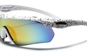 Half Frame Men's Cycling Triathlon Baseball Running Sports Sunglasses - White / Revo Yellow Lens