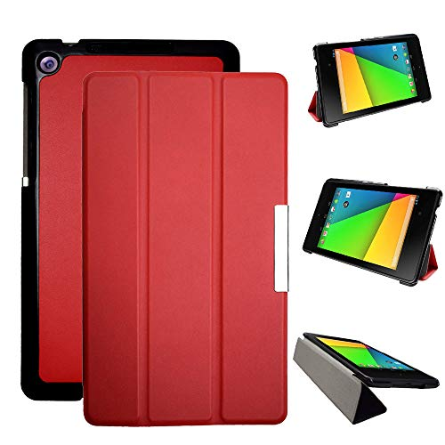 Kuesn Cover Case for Asus Google Nexus 7 2nd (2nd.2013 Model) pu Leather Pouch with Stand - Fit for 2013 Release Nexus 7 Tablet (Red)