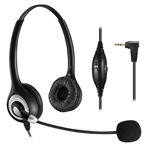 Bingle 2.5mm Binaural Telephone Headset with Noise Cancelling Boom Microphone & Volume Mute Controls for Cisco Linksys SPA Polycom Grandstream Panasonic Office Deskphone DECT Cordless Phones