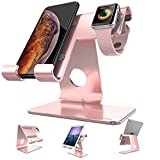 Apple Watch Stand , ZVEproof 2 in 1 Universal Desktop CellPhone Apple Watch Stand , Aluminum iWatch iPhone Tablet Charging Station Stand Dock for iPhone and Apple Watch (with 38mm Case), Rose Gold