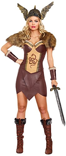 Dreamgirl Women's Voracious Viking Costume, Brown/Beige, Large