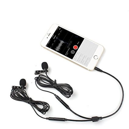 Lavalier-Microphone-MAONO-AU404-Omnidirectional-Dual-Lapel-Clip-on-Mic-for-Recording-Interview-Podcast-Video-YouTube-Skype-Compatible-with-iPhone-Smartphone-Computer-Tablet