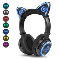 MindKoo Bluetooth Headphones, Cat Ear Headphones LED Light Up Wireless Headphones Over Ear wiht Microphone, Foldable and…