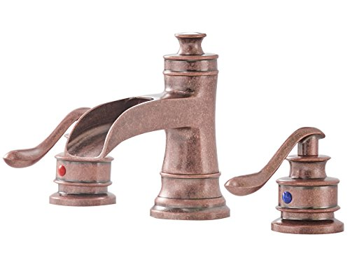 Greenspring 8-16 Inch 3 Holes Two Handle Commercial Widespread Waterfall Bathroom Sink Faucet Copper