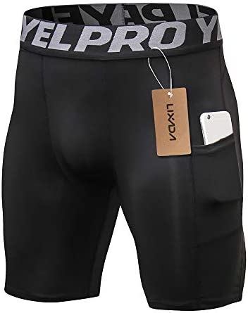 Lixada Men's Compression Shorts Pants Sports Baselayer Tights Active Workout Underwear Leggings with Pockets 4