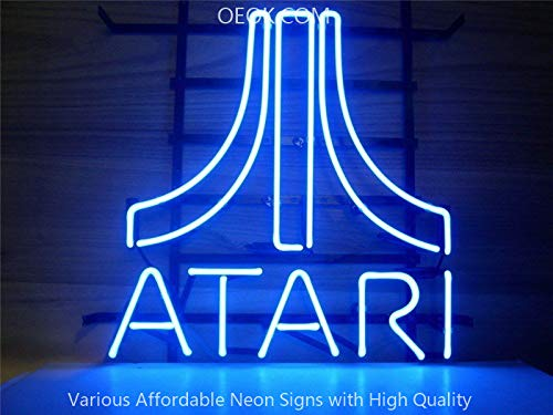 OEOK Atari Arcade Video Game Room Real Glass Neon Sign Beer Bar Pub Light Handmade Virtual Artwork Room Wall Home Decor