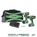 Hitachi KC18DGLS 18V Lithium Ion Cordless Combo Kit DV18DGL Hammer Drill & WH18DGL Impact Driver with 2-1.5Ah Batteries