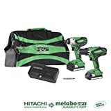Hitachi KC18DGLS 18V Lithium Ion Cordless Combo Kit DV18DGL Hammer Drill & WH18DGL Impact Driver with 2-1.5Ah Batteries