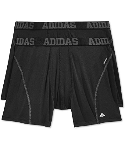 adidas Men's Sport Performance Climacool Boxer Briefs Underwear (2-Pack), Black/Black, Large