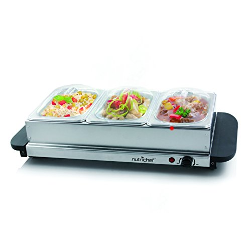 NutriChef 3 Tray Buffet Server & Hot Plate Food Warmer | Tabletop Electric Food Warming Tray | Easy Clean Stainless Steel | Portable & Great for Parties & Events | Max Temp 175F