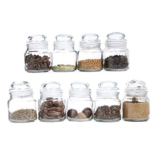 411DLnUCipL - DINEMART Glass Dry Fruit and Honey Glass Spice Jar Container for Storage with Air Tight Lid Glass Cap (100ml, Clear) Set of 6 Pieces